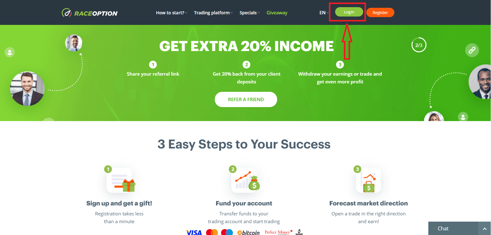 How to Login and Deposit Money in Raceoption